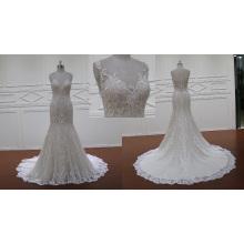 Lindo vestido de noiva de renda champanhe 2016