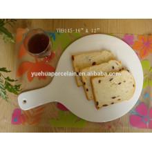 2015 Neuestes weißes Porzellan Keramik Kuchen Pfanne / Pizza Platte für Hotel
