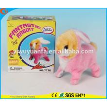 Новинка Дизайн Детские Игрушки Красочные Электрический Прогулки Пропустить Чучела Розовый Кролик