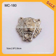 MC180 Custom silver tone tiger shape garment accessory meta llogo tag for clothing