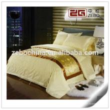 100% Algodão Tecido Jacquard colorido Customized King Hotel Bedsheet