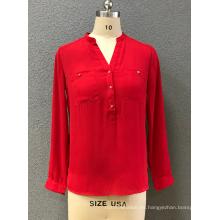 Blusa de manga larga roja para mujer