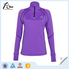 Mujeres Cuarto Zip Pullover Sexy Shirts Gym Wear