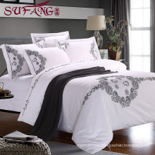 top 5 luxury 5 star hotel High Quality Hotel Bedding Linen Supplier 40s100% Cotton Plain White Bed Sheets Set frame embroidery
