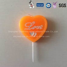 Heart Shaped Wax Candle for Birthday or Valentine′s Day