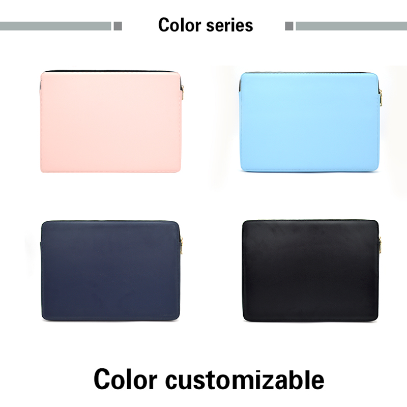 Custom Zipper Pu Leather Laptop Sleeve Computer Bag