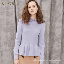 Ruffled Style Knit Sweater For Girl, 100% Wool Jumper Solid Color, Longsleeve Stand collar Sweater For Winter Season