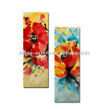 Pintura al óleo colorida de la flor en lona
