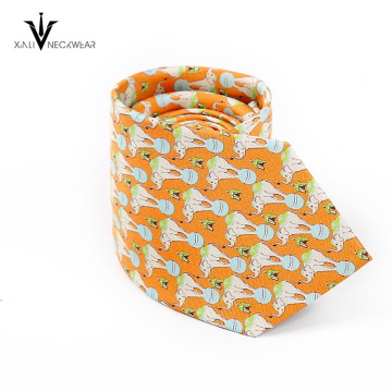New Fashion Men Custom Print Silk Gold Tie