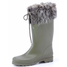 Artificial Wool And Lace Rubber Boots