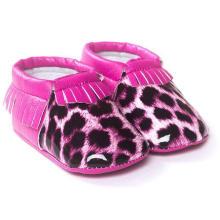 Moda borlas leopardo infantil criança mocassins anti-derrapante sapatos de bebê