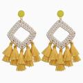 Bohemian Rattan Tassel Earrings for Women Lightweight Boho Jewelry Handmade Weaving Geometric Long Drop Statement Earrings
