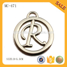 MC471 Etiquetas personalizadas redondas del metal de la caída del logotipo para los granos / los bolsos de la ropa