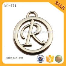 MC471 Etiquetas personalizadas do metal do pendente do logotipo redondo para a roupa grânulos / handbags
