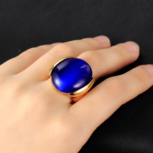 Fashion Round Dome Shape Changing Mood Stone Ring