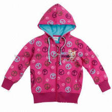 Children's Clothing Winter Allover Print Girls Coats with Embroidery