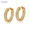Mini Rhinestone Diamond Gold Hoop Earrings