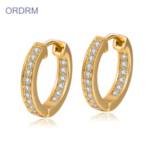Мини-Rhinestone Diamond Gold Hoop Earrings