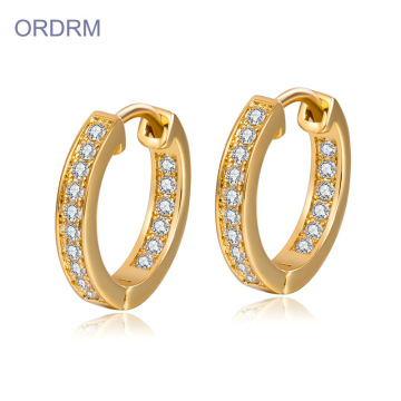 Mini Rhinestone Diamond Gold Aro Pendientes