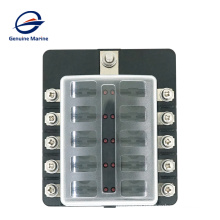 New product waterproof 10 Way Circuit with LED Indicator Cover for Car Marine Car Fuse Blocks Holder 32V DC Fuse Box