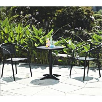 Outdoor Imitation wood Furniture 3pc chat set-black wood color