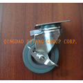 Gray rubber caster wheel with side brake