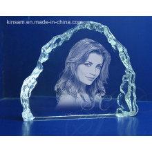 Laser Carve moldura de cristal para presente de aniversário