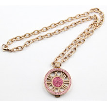 Fashion Party Locket Pendant Necklace with Rose Crystal