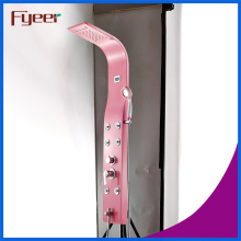 Fyeer Pink Rainfall Stainless Steel Shower Panel with Temperature Display