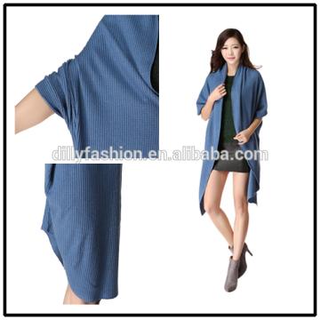 O último design de malha de cashmere cardigan comprido casaco de croche de mulheres