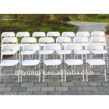 Chaise pliante en acier pliant en plastique blanc