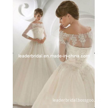 off Shoulder A-Line Lace Organza Bridal Wedding Dress H13165