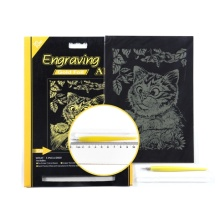 Kid Engraving Art Scratch Board Gold Foil Drawing Kit
