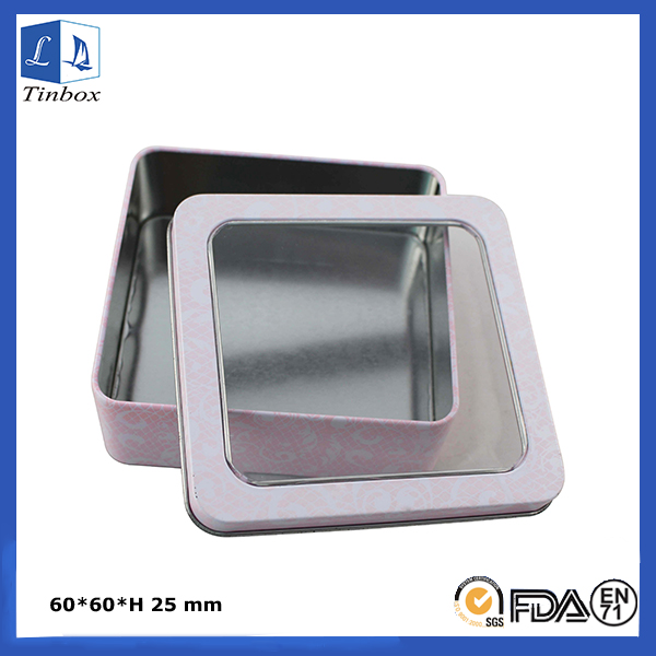 Square Metal Tins With Lids & Window