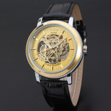 winner golden mechanical watch with applied index riveted dial