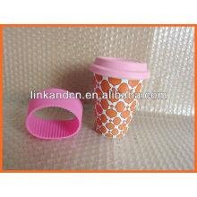 Tasse à café en céramique Haonai KC-00934 avec couvercle en silicone