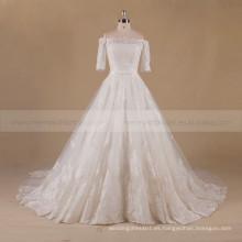 Honorable hombro fuera de la manga 1/2 tren largo de una línea de encaje vestido de novia