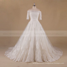Honorable Off Shoulder 1/2 Sleeve Long Train A-line Lace Wedding Dress