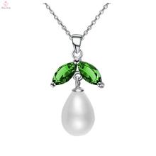 Jóias de colar de pedra de diamante verde prata esterlina