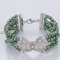 Green Pearl Cuff Bracelet with Diamonds