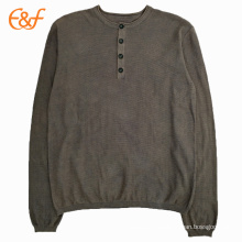 Mens Lightweight Computer Knitted Crew Neck Sweater With Button