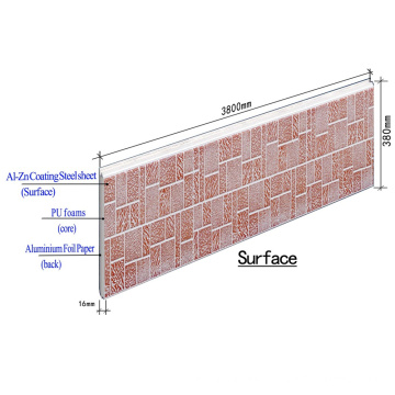 Insulation metal PU sandwich wall panel