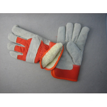 Gant de travail en cuir d'hiver en cuir perforé de paume de vache-3089