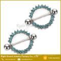316L Хирургическая сталь круг камней жизни соска кольцо щит