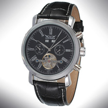 Tourbillon Mens Mineral Glass Wrist Watch Customized