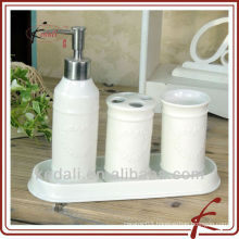China Factory White Emboss Ceramic Porcelain Bathroom set Bathroom Accessory Set