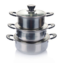 Pot de soupe en acier inoxydable 3PCS avec couvercle en verre