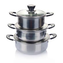 Pote de sopa de aço inoxidável 3PCS com tampa de vidro