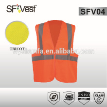 100% polyester tricot traffic safety EN ISO 20471 reflective vest