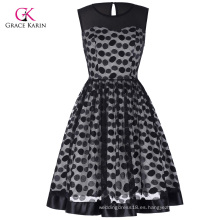Grace Karin Vintage retro sin mangas malla de tela Polka Dots partido Picnic vestido CL010464-1